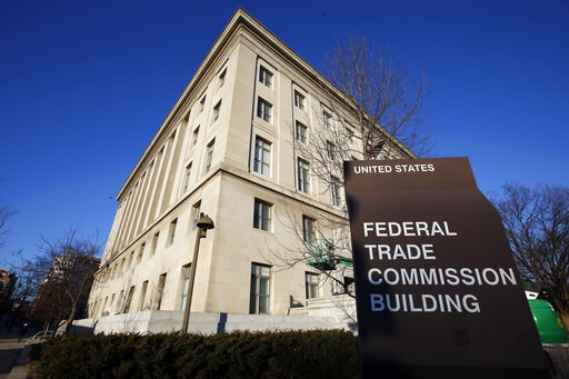 (AP Photo/Alex Brandon, File). FILE - This Jan. 28, 2015, file photo, shows the Federal Trade Commission building in Washington. Federal privacy regulators are under scrutiny in Congress as they negotiate a record fine with Facebook to punish the compa...