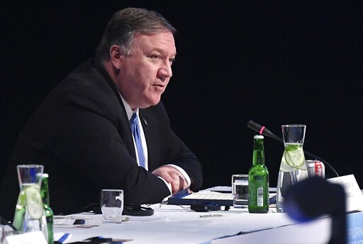 (Mandel Ngan/Pool via AP). US Secretary of State Mike Pompeo attends the 11th Ministerial Meeting of the Arctic Council in Rovaniemi, Finland, Tuesday May 7, 2019.