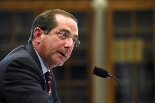 (AP Photo/Susan Walsh, File). FILE - In this March 13, 2019, file phtooHealth and Human Services Secretary Alex Azar testifies before a House Appropriations subcommittee on Capitol Hill in Washington. Azar says drugmakers will soon have to reveal price...