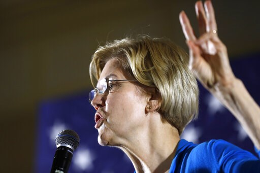 (AP Photo/Charlie Neibergall). 2020 Democratic presidential candidate Sen. Elizabeth Warren speaks to local residents during an organizing event, Friday, May 3, 2019, in Ames, Iowa.