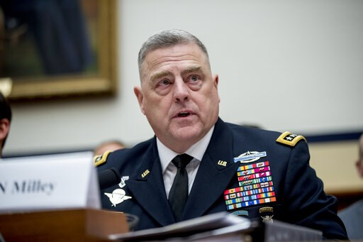 (AP Photo/Andrew Harnik, File). FILE - In this April 2, 2019, file photo, U.S. Army Chief of Staff Gen. Mark Milley speaks during a House Armed Services Committee budget hearing for the Departments of the Army and Air Force on Capitol Hill in Washingto...