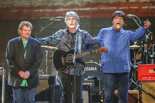 (Photo by Al Wagner/Invision/AP, File). FILE - This April 6, 2017 file photo shows Jeff Cook, from left, Randy Owen, and Teddy Gentry from the band Alabama performing at the Bridgestone Arena  in Nashville, Tenn. Alabama is extending their 50th anniver...
