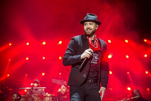 (Photo by Amy Harris/Invision/AP, File). FILE - In this Sept. 23, 2017 file photo, Justin Timberlake performs at the Pilgrimage Music and Cultural Festival in Franklin, Tenn. Timberlake's songwriting chops will be honored next month. The pop star will ...