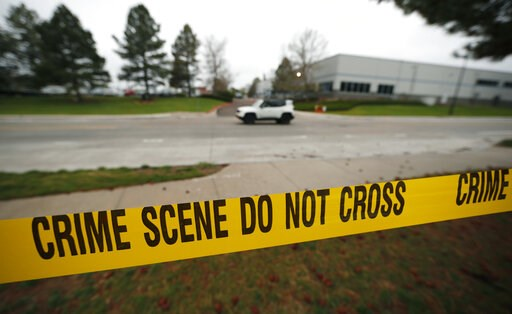 (AP Photo/David Zalubowski). Police tape remains near the scene following Tuesday's shooting at STEM Highlands Ranch school, Wednesday, May 8, 2019, in Highlands Ranch, Colo.