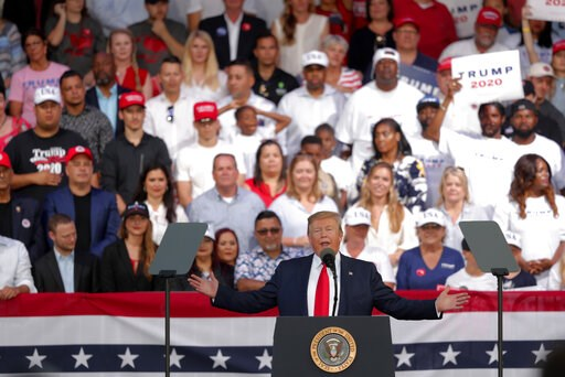 (AP Photo/Gerald Herbert). President Trump speaks at a rally in Panama City Beach, Fla., Wednesday, May 8, 2019.