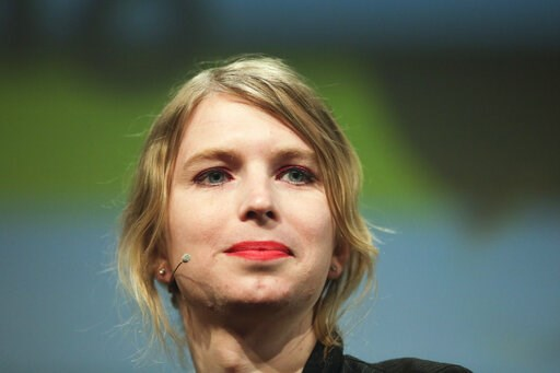 """(AP Photo/Markus Schreiber, File). FILE - In this May 2, 2018, file photo, Chelsea Manning attends a discussion at the media convention """"Republica"""" in Berlin. Former Army intelligence analyst Manning has been released from a northern Virginia jail afte..."""