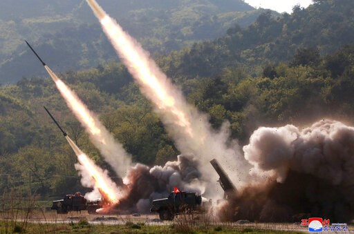 (Korean Central News Agency/Korea News Service via AP). This Thursday, May 9, 2019, photo provided Friday, May 10, 2019, by the North Korean government shows a test of military weapon systems in North Korea. North Korea fired two suspected short-range ...
