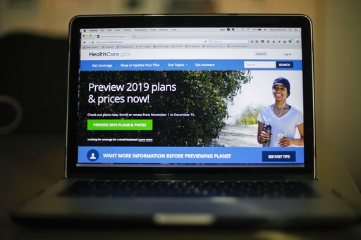 (AP Photo/Pablo Martinez Monsivais, File). FILE - In this Oct. 31, 2018, file photo, the HealthCare.gov website is photographed in Washington. The Trump administration is arguing in court that the entire Affordable Care Act should be struck down as unc...