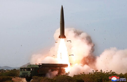 (Korean Central News Agency/Korea News Service via AP, File). FILE - This May 4, 2019, file photo provided by the North Korean government shows a launch of a missile in the east coast of North Korea. Experts say North Korea's latest launches suggest it...