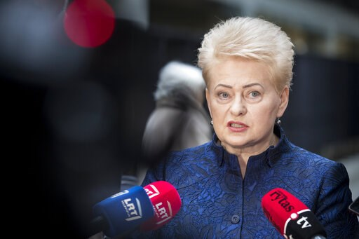 (AP Photo/Mindaugas Kulbis). Lithuania's President Dalia Grybauskaite speaks to the members of press at a polling station during the advance presidential elections in Vilnius, Lithuania, Tuesday, May 7, 2019. Lithuanians will head to the polls on Sunda...