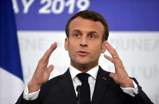 (AP Photo/Andreea Alexandru). French President Emmanuel Macron speaks during a media conference at an EU summit in Sibiu, Romania, Thursday, May 9, 2019. European Union leaders on Thursday start to set out a course for increased political cooperation i...