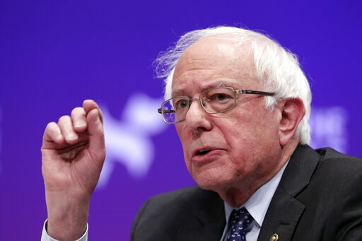 (AP Photo/Michael Wyke, File). FILE - In this Wednesday, April 24, 2019, file photo, Democratic presidential candidate Sen. Bernie Sanders, I-Vt., answers questions during a presidential forum held by She The People, on the Texas State University campu...
