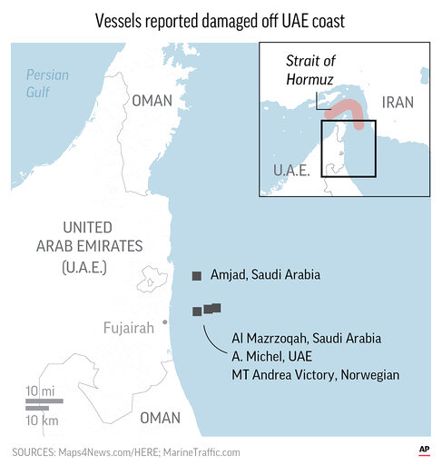 Saudi Arabia says two of its oil tankers were attacked Sunday off the coast of the UAE port city of Fujairah.;
