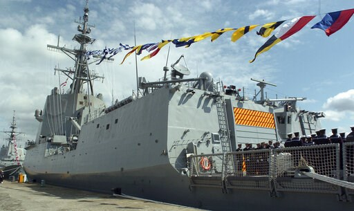 (Ministerio de Defensa de Espana, via AP). In this photo taken in March 2006 and made available by the Ministerio de Defensa de Espana, sailors stand on board the Mendez Nunez Spanish frigate, in Ferrol, Spain. Spain has temporarily pulled out the frig...