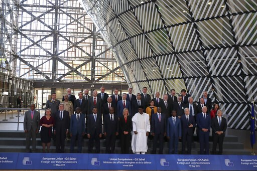 (AP Photo/Francisco Seco). European Union foreign policy chief Federica Mogherini, front row center, poses along with ministers for a group photo after an EU Foreign and Defense Ministers meeting with their counterparts of the G5 Sahel countries at the...