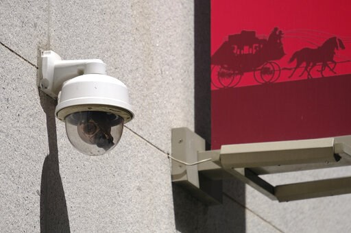 (AP Photo/Eric Risberg). This photo taken Tuesday, May 7, 2019, shows a security camera in the Financial District of San Francisco. San Francisco is on track to become the first U.S. city to ban the use of facial recognition by police and other city ag...