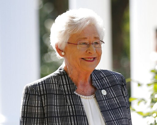 (AP Photo/Brynn Anderson, File). FILE - In this Friday, Nov. 17, 2017 file photo, Alabama Gov. Kay Ivey speaks to the media in Montgomery, Ala. Alabama lawmakers have passed a near total ban on abortion. The state Senate on Tuesday, May 14, 2019, passe...