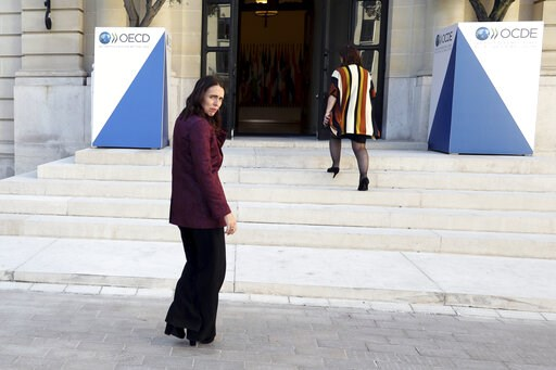 (AP Photo/Thibault Camus). New Zealand Prime Minister Jacinda Ardern, left, leaves after a press conference, at the OECD headquarters, in Paris, Tuesday, May 14, 2019. The leaders of France and New Zealand will make a joint push to eliminate acts of vi...