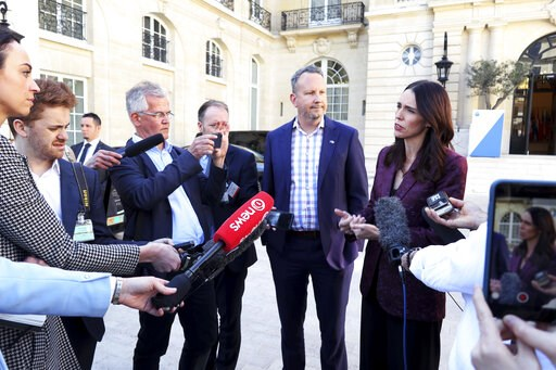 (AP Photo/Thibault Camus). New Zealand Prime Minister Jacinda Ardern, right, gives a press conference, at the OECD headquarters, in Paris, Tuesday, May 14, 2019. The leaders of France and New Zealand will make a joint push to eliminate acts of violent ...