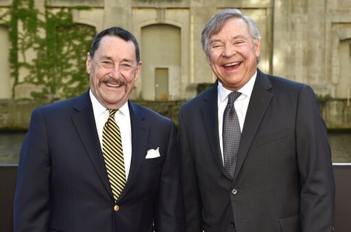 "(Photo by Rob Grabowski/Invision/AP, File). FILE - In this Tuesday, June 20, 2017 file photo, Peter Cullen, left, and Frank Welker pose for a photo at the U.S. premiere of ""Transformers: The Last Knight"" at the Civic Opera House in Chicago. Cullen and ..."