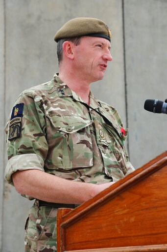 (Sgt. Phillip McTaggart/U.S. Army via AP). In this Nov. 11, 2018, photo, British army Maj. Gen. Christopher Ghika, deputy commander for Strategy and Information Combined Joint Task Force - Operation Inherent Resolve (CJTF-OIR), speaks before a gatherin...