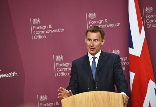 (Mandel Ngan/Pool via AP). Britain's Foreign Secretary Jeremy Hunt speaks during a joint press conference with US Secretary of State Mike Pompeo at the Foreign Office in central London, Wednesday May 8, 2019. U.S. Secretary of State Mike Pompeo is in L...
