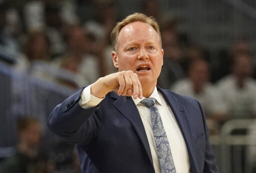 (AP Photo/Morry Gash). Milwaukee Bucks head coach Mike Budenholzer reacts during the first half of Game 1 of the NBA Eastern Conference basketball playoff finals against the Toronto Raptors Wednesday, May 15, 2019, in Milwaukee.