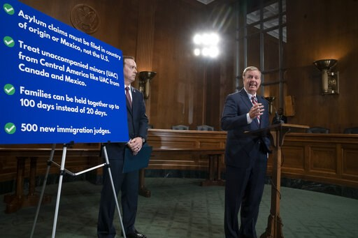 (AP Photo/J. Scott Applewhite). Senate Judiciary Committee Chairman Lindsey Graham, R-S.C., an ally of President Donald Trump, is joined by Acting U.S. Customs and Border Protection Commissioner John Sanders, left, as he announces his proposal to revam...