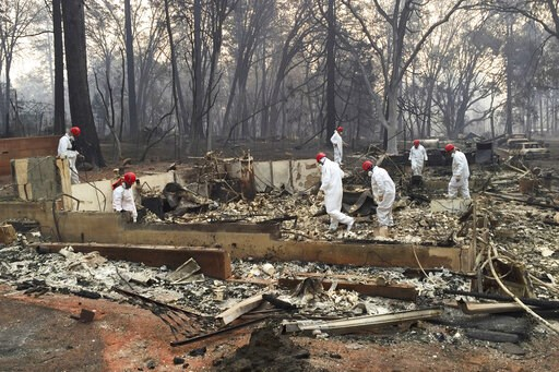 (AP Photo/Terry Chea, File). FILE - In this Nov. 15, 2018 file photo, volunteer rescue workers search for human remains in the rubble of homes burned in the Camp Fire in Paradise, Calif. California fire authorities say that Pacific Gas and Electric equ...