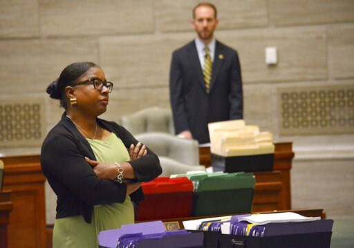 (Sally Ince/The Jefferson City News-Tribune via AP). During debate in the Missouri Senate in Jefferson City Wednesday, May 15, 2019, Freshman senator, Karla May, D-St. Louis, listens to opposing arguments regarding Missouri's proposed new abortion law....