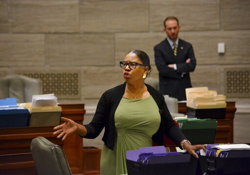 (Sally Ince/The Jefferson City News-Tribune via AP). During debate in the Missouri Senate in Jefferson City Wednesday, May 15, 2019, Freshman senator, Karla May, D-St. Louis, makes a point regarding Missouri's proposed new abortion law. Opponents of th...