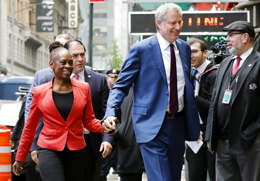 """(AP Photo/Richard Drew). New York Mayor Bill de Blasio and his wife Chirlane McCray arrive at """"Good Morning America"""" in New York, Thursday, May 16, 2019. De Blasio announced Thursday that he will seek the Democratic nomination for president, adding his..."""