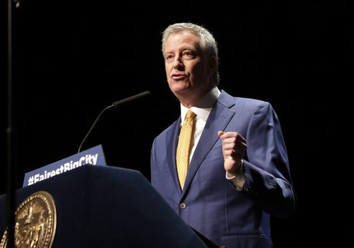 (AP Photo/Seth Wenig, File). FILE - In this Jan 10, 2019, file photo, New York City Mayor Bill de Blasio speaks at his State of the City address in New York.  De Blasio announced Thursday, May 16 that he will seek the Democratic nomination for presiden...