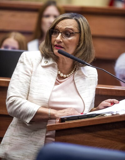 (Mickey Welsh/The Montgomery Advertiser via AP). Sen. Vivian Figures speaks as debate on HB314, the near-total ban on abortion bill, is held in the senate chamber in the Alabama Statehouse in Montgomery, Ala., Tuesday, May 14, 2019.