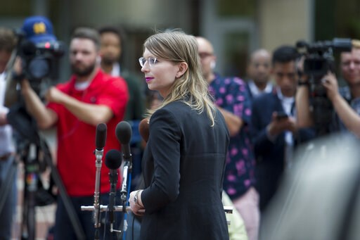 (AP Photo/Cliff Owen). Former Army intelligence analyst Chelsea Manning speaks with reporters, after arriving at the federal courthouse in Alexandria, Va., Thursday, May 16, 2019. Manning spoke about the federal court's continued attempts to compel her...