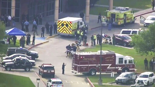 (KTRK-TV ABC13 via AP, File). FILE - In this Friday, May 18, 2018 file image taken from video, emergency personnel and law enforcement officers respond to a high school near Houston after an active shooter was reported on campus, in Santa Fe, Texas. A ...