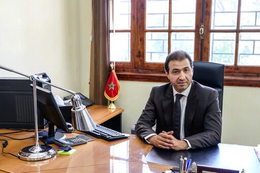 (AP Photo/Nadine Achoui-Lesage). Khalid Zerouali, director of Migration and Border Surveillance in Morocco's Interior Ministry, poses for a photo during an interview with the Associated Press in Rabat, Morocco, Thursday, May 16, 2019. Khalid Zerouali s...