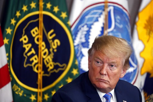 (AP Photo/Jacquelyn Martin, File). FILE - In this April 5, 2019 file photo, President Donald Trump participates in a roundtable on immigration and border security at the U.S. Border Patrol Calexico Station in Calexico, Calif. A federal judge on Friday,...