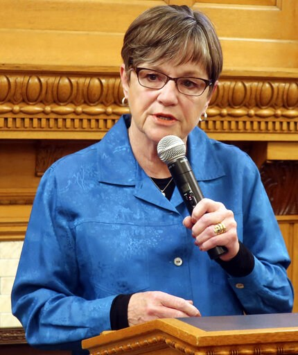 (AP Photo/John Hanna). Kansas Gov. Laura Kelly answers questions from reporters during a news conference at the Statehouse, Friday, May 10, 2019, in Topeka, Kan. The Kansas Supreme Court has ruled that Kelly didn't have the legal authority to withdraw ...