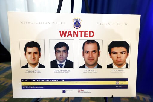 (AP Photo/Alex Brandon, File). FILE - In this June 15, 2017, file photo, pictures of people facing criminal charges are seen after a news conference in Washington, about an May 16, 2017, altercation outside the Turkish Embassy in Washington during the ...