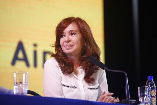 """(Unidad Ciudadana via AP ). In this handout photo provided by the Unidad Ciudadana political party, former Argentine President Cristina Fernandez smiles as she officially present her book """"Sincerely,"""" during the Buenos Aires book fair in Argentina, Thu..."""