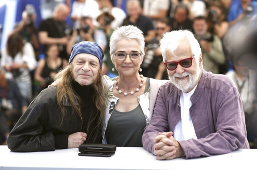 (AP Photo/Petros Giannakouris). Actor Leon Vitali, from left, Katharina Kubrick and producer Jan Harlan pose for photographers at the photo call for the film 'The Shining' at the 72nd international film festival, Cannes, southern France, Thursday, May ...