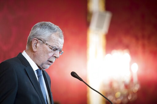 (AP Photo/Michael Gruber). Austrian President Alexander van der Bellen addresses the media during a press conference at the Hofburg palace in Vienna, Austria, Saturday, May 18, 2019. Austrian Chancellor Sebastian Kurz has called for an early election a...