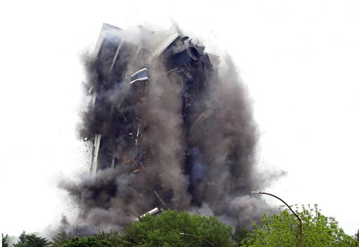 (AP Photo/Jacqueline Larma). Martin Tower, former world headquarters of Bethlehem Steel, implodes Sunday May 19, 2019 in Bethlehem, Pa. Crowds gathered to watch the demolition of the area's tallest building, a 21-story monolith that opened at the heigh...
