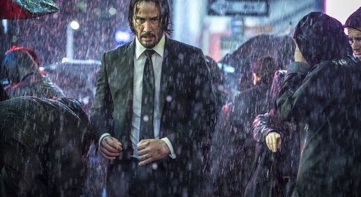 """(Niko Tavernise/Lionsgate via AP). This image released by Lionsgate shows Keanu Reeves in a scene from """"John Wick: Chapter 3 - Parabellum."""""""