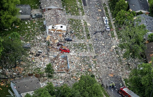 (Michael Clevegner/Courier Journal via AP). This aerial photo shows the scene of a deadly home explosion in Jeffersonville, Ind., on Sunday, May 19, 2019.