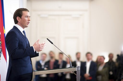 (AP Photo/Michael Gruber). Austrian Chancellor Sebastian Kurz (Austrian People's Party) addresses the media during a press conference at the Federal Chancellors Office in Vienna, Austria, Saturday, May 18, 2019. Kurz has called for an early election af...