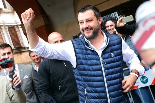 (Serena Campanini/ANSA via AP). Italian Deputy Premier and Interior Minister, Matteo Salvini, attends an election campaign rally in Sassuolo, Italy, Sunday, May 19, 2019. Salvini, the head of Italy's right-wing League party, has positioned himself at t...