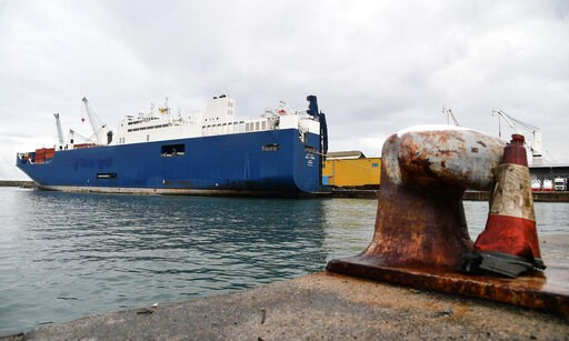 (Luca Zennaro/ANSA via AP). Saudi Arabian freighter Bahri Yambu is docked in Genoa's port, Italy, Monday, May 20, 2019. The freighter allegedly carrying weapons that could be used in the war in Yemen is scheduled to load further cargo before departing ...