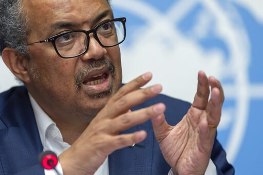 (Martial Trezzini/Keystone via AP, File). FILE - In this Thursday, March 14, 2019 file photo, Tedros Adhanom Ghebreyesus, Director-General of the World Health Organization (WHO) speaks at the European headquarters of the United Nations in Geneva, Switz...
